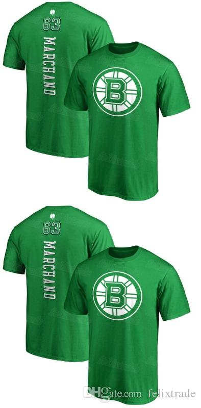 41ae42189f2 2019 Mens Boston Bruins Patrice Bergeron Brad Marchand Kelly Green St. Patrick S  Day Backer Name   Number Hockey T Shirt Whole Sale Dropshipp From ...