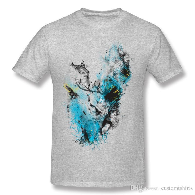 Newest Mens 100% Cotton Chaos Thinking Tee-Shirts Mens Crewneck Dark Green Short Sleeve T-Shirt Camiseta Plus Size Street Tee-Shirts