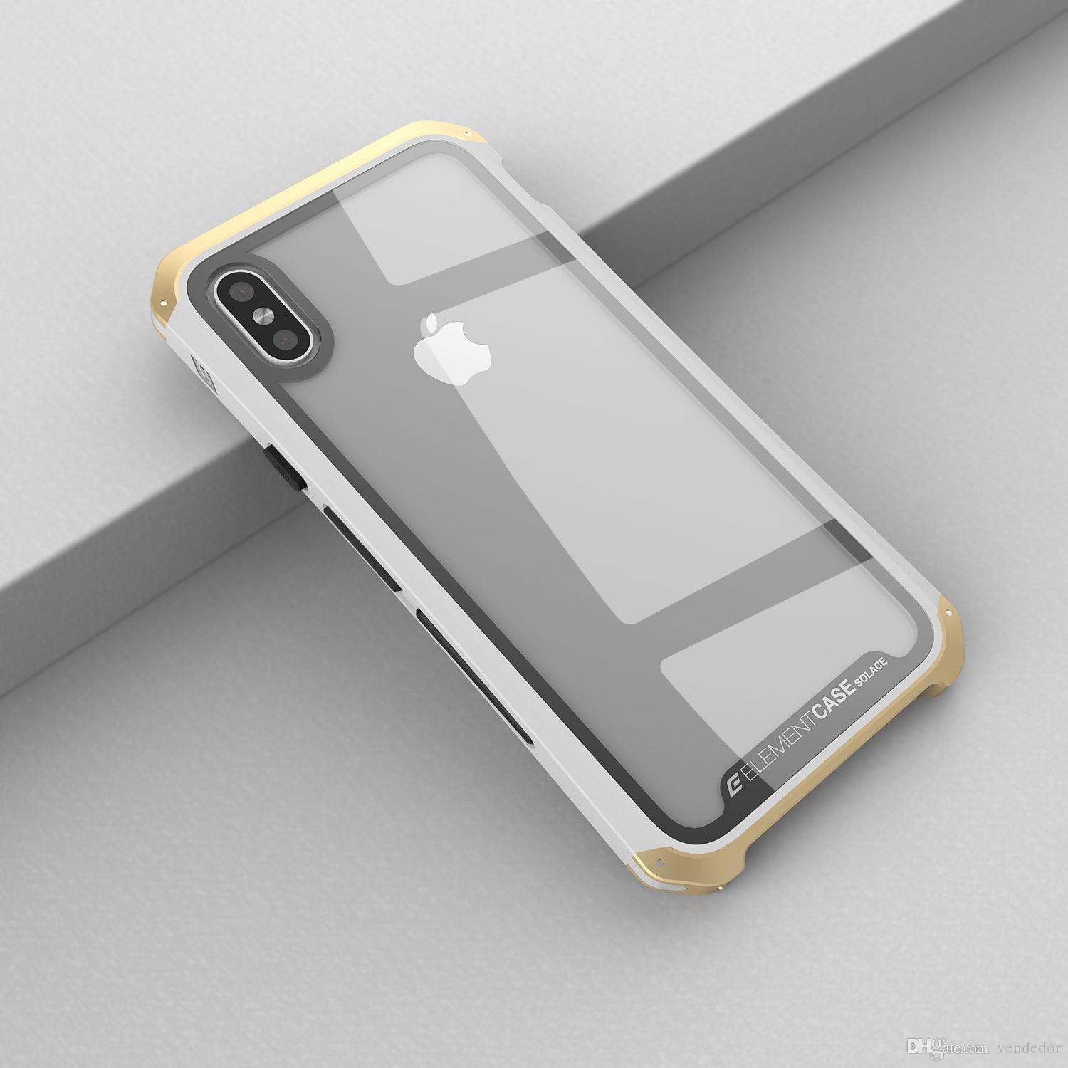 9e733c17 For iphone X Metal Framed Glass Steel Phone case Hard Shockproof Cover For  iphone 8 7 plus 2 in 1 Hybrid Armor Retail Package Aicoo