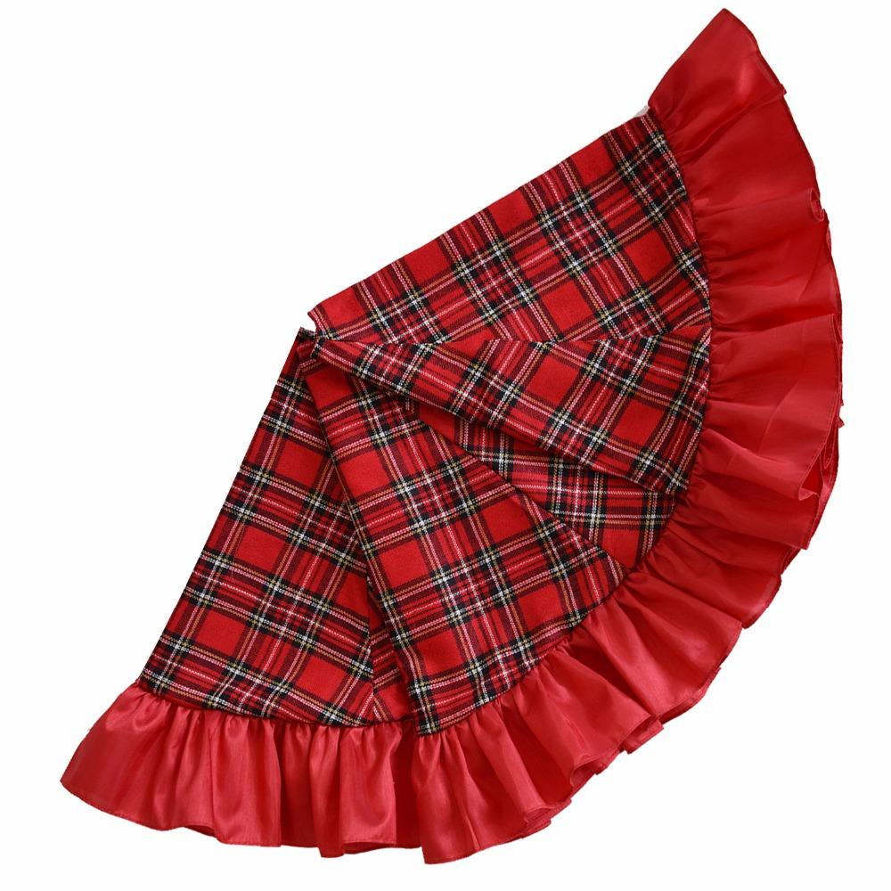 extra large 42 christmas tree skirt patchwork tartan plaid with red ruffer border skirt christmas ornaments wholesale christmas outdoor decoration from - Extra Large Christmas Tree Skirt
