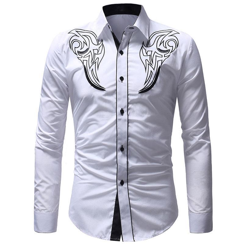 8bb7117199 Compre Totem Bordado Slim Fit Ponto Collar Camisas De Vestido Dos Homens De Manga  Longa Mans Camisas Casual Masculino Camisa Social De Mujing