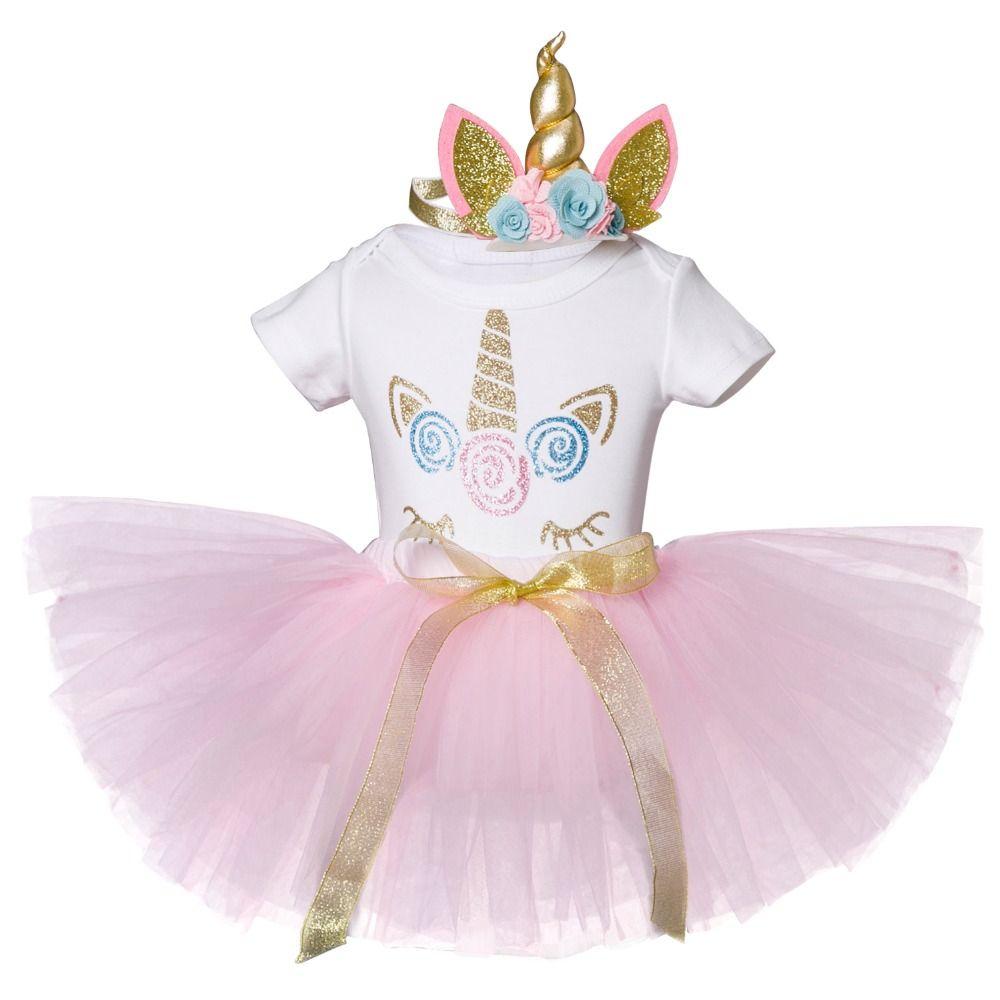3abe2f9a89a8b Acheter Nouveau Né Bébé Fille 1 An Anniversaire Licorne Vêtements Robe  Tenues Coton Princesse Baptême Rose Baptême Robes De Noël 12M De  28.0 Du  Vanilla14 ...