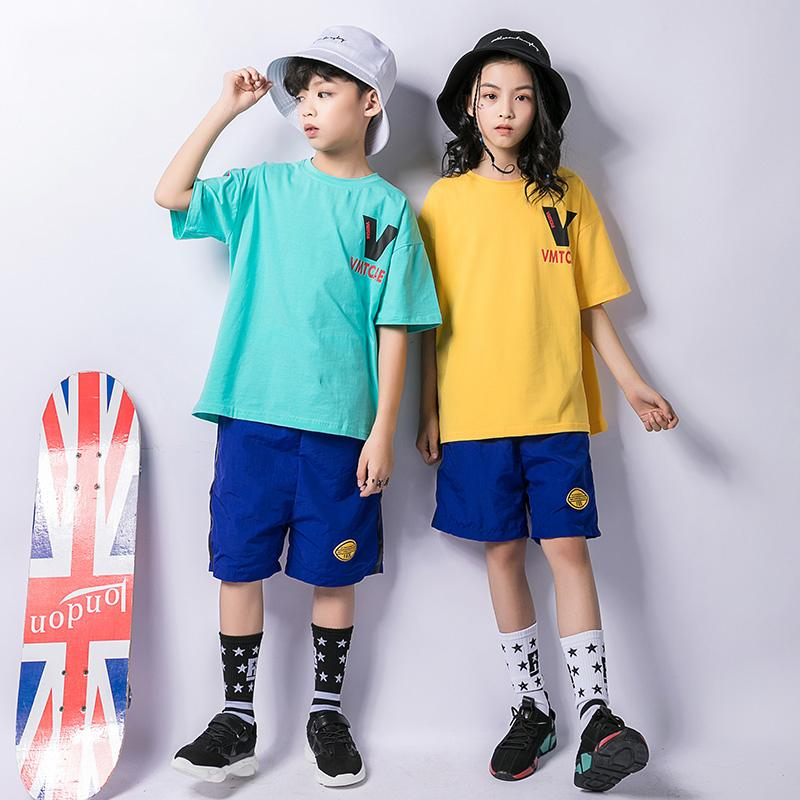 ef1cde9bf6ad1 Compre Traje De Baile De Hip Hop Para Niños Camiseta De Manga Corta  Pantalones Cortos Azul Baile Infantil Trajes De Jazz Ropa De Hip Hop Para  Niñas Calle ...