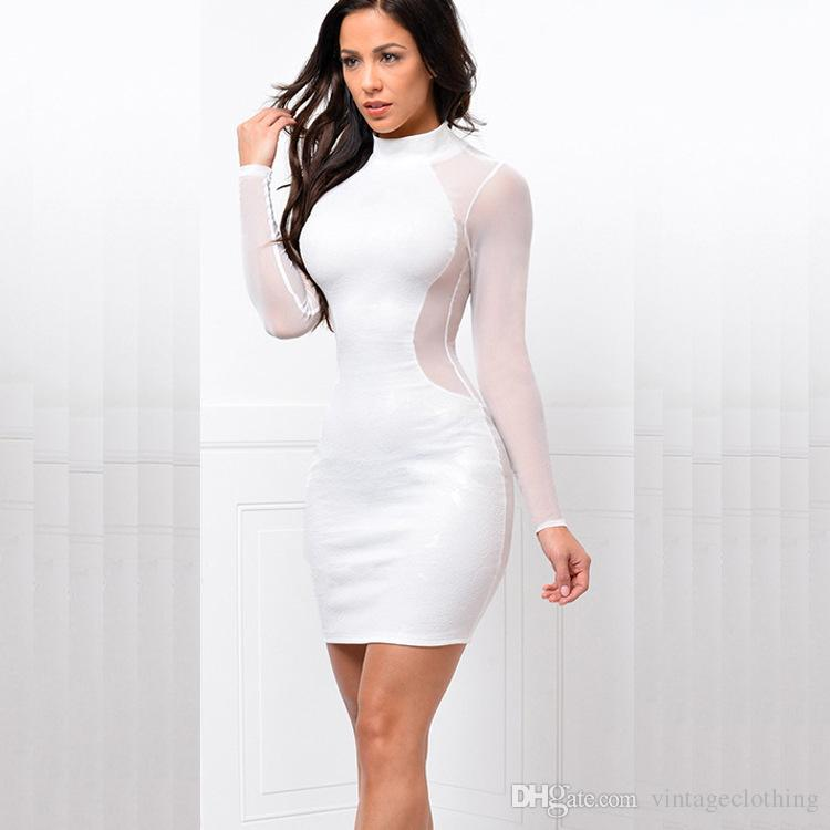 New Arrival Night Club Women Bodycon Dress Sexy Lady Design Knee Length Crew Neck Sheath Dress1