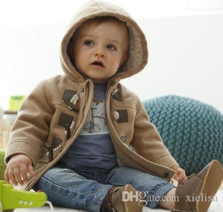 1 unids Al Por Menor 2018 Nuevo Llega el abrigo de los muchachos del abrigo de tweed del muchacho de la manera de los muchachos de la Navidad Nueva chaqueta gruesa del niño del invierno