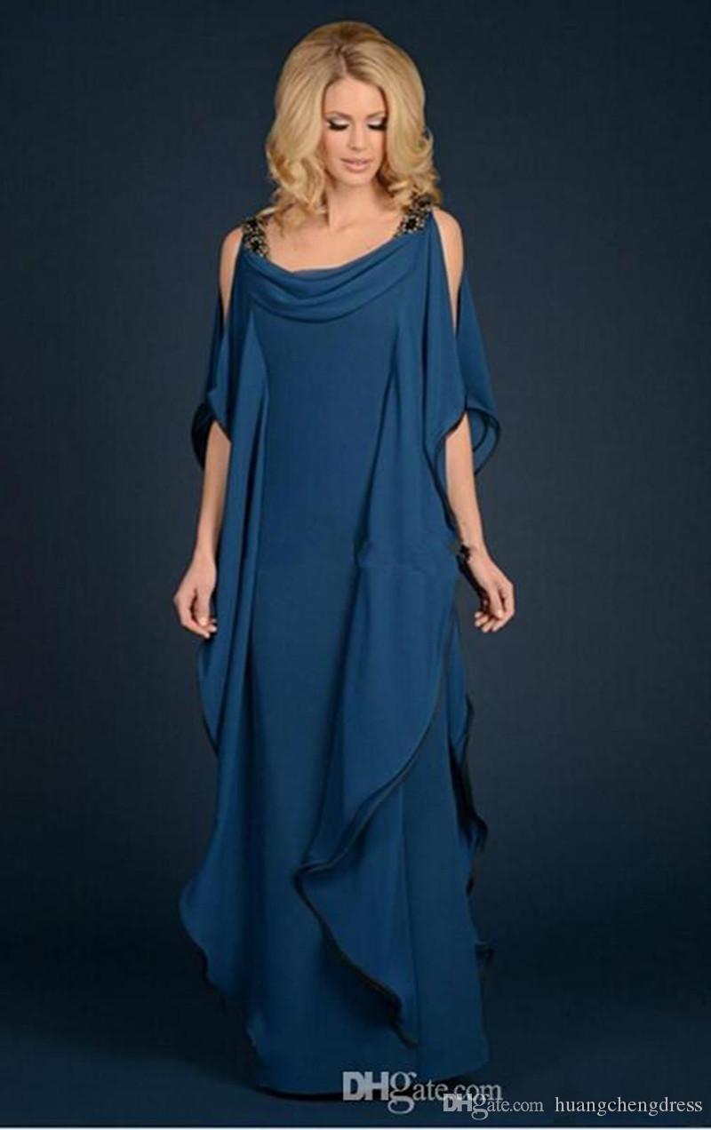 2019 nova champagne azul marinho mãe da noiva vestidos de chiffon vestuário frisado plus size babados fluindo mãe vestido de noite formal