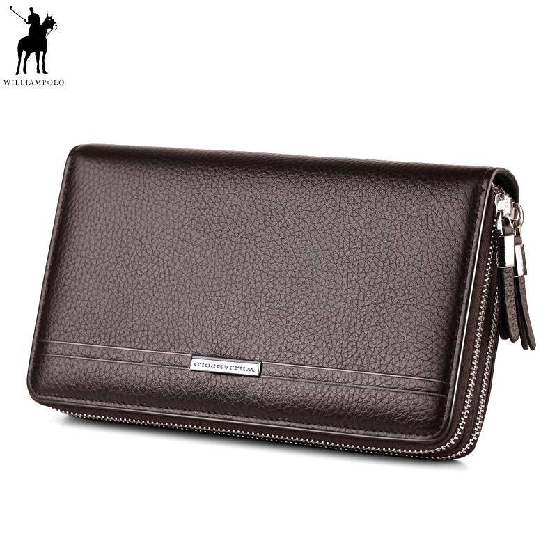 6565194b4 Compre WILLIAMPOLO Cuero Vintage Sólido Embrague Bolsa Teléfono Y Tarjeta  Marca Mens Wallet Doble Cremallera Monedero De Cuero Genuino Práctico  Polo163 A ...