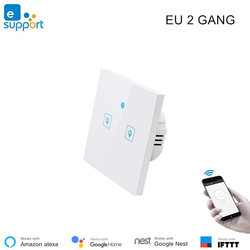 Wi-fi sem fio interruptor lgiht eWeLink T1 UE 2 gang switch controle remoto  para a automação residencial inteligente Alexa Google compatível em