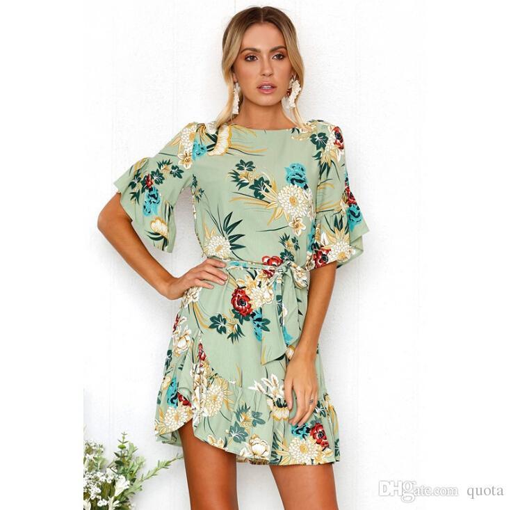 ef525043d83 Girls Boho Floral Crew Neck Dress Print Summer Women Short Evening ...