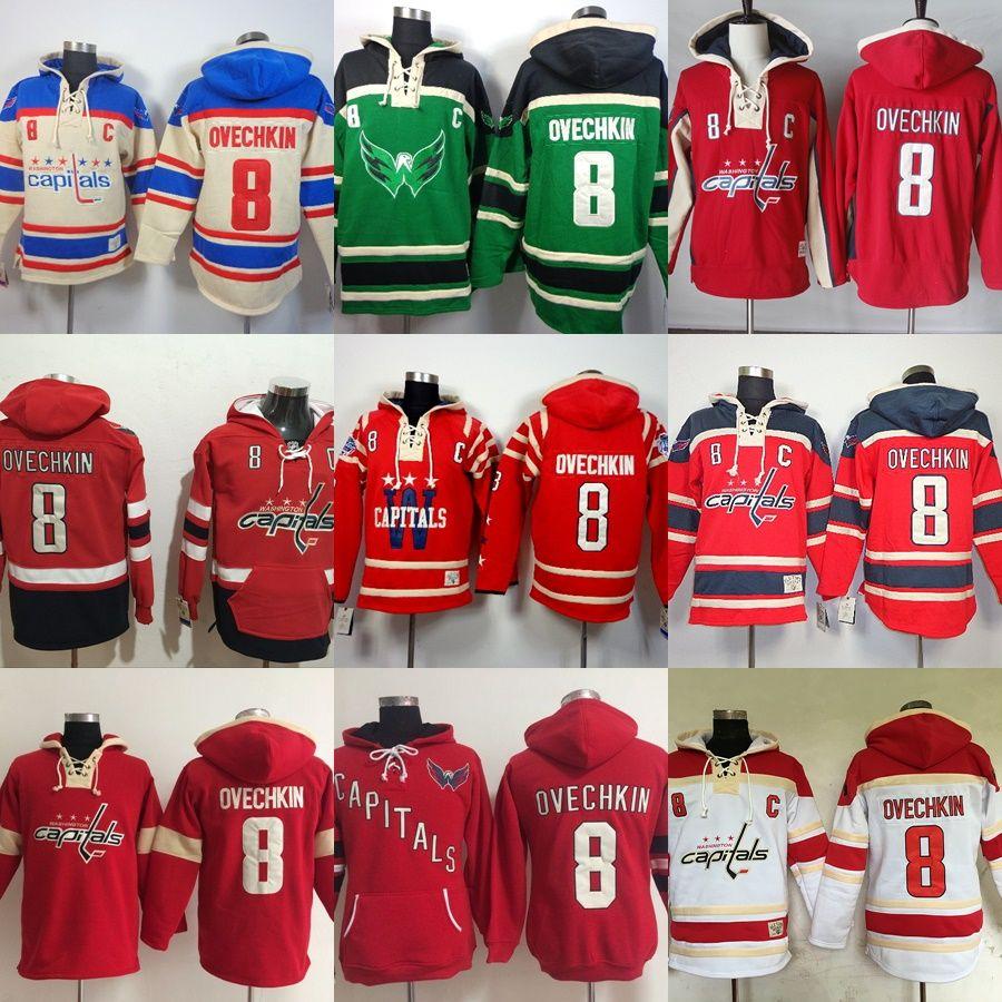 aac7283b0 Mens Washington Capitals Custom Hockey Hoodies Beige Green Red White ...