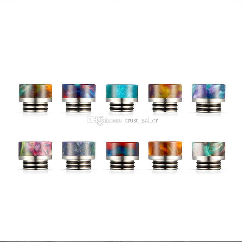 810 Thread Cone Bell Marble Epoxy Resin Drip Tips SS Gourd Drip Tip Mouthpieces For TFV8 TFV12 TFV8 Big Baby Tank Atomizers