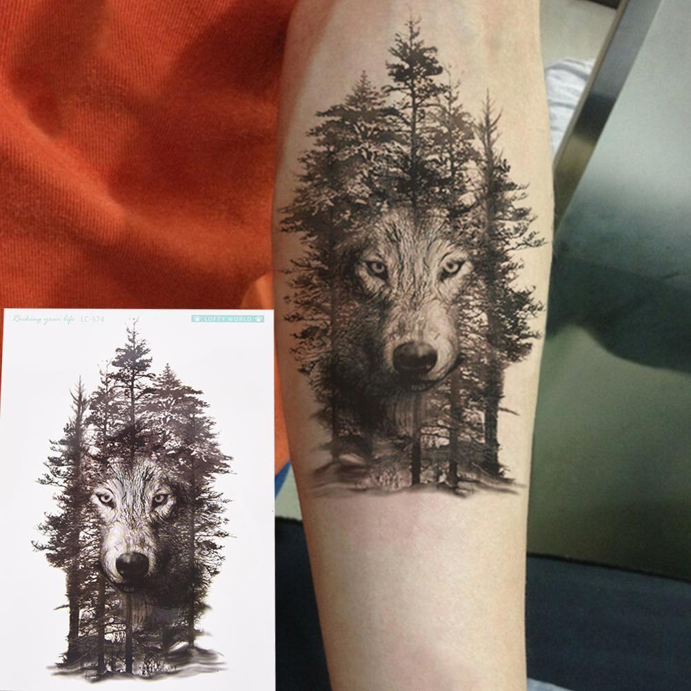 Impermeable Lobo Bosque Tatto Pegatinas Etiqueta Engomada Del