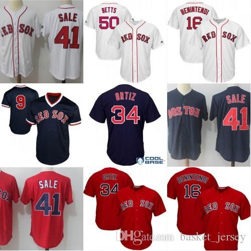 Mens Baseball Jerseys Men 50 Mookie Betts 41 Chris Sale 9 Ted ... 9a4df3975