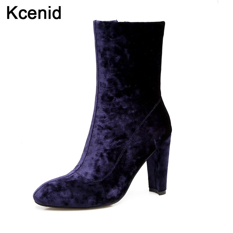 2ed54f92a38a Kcenid Plus Size 33 46 Hot Selling Purple Shoes Woman Velvet Boots Mid Calf  Thick Heel Boots For Women Side Zipper Zapatos Mujer Ladies Shoes Moon Boots  ...