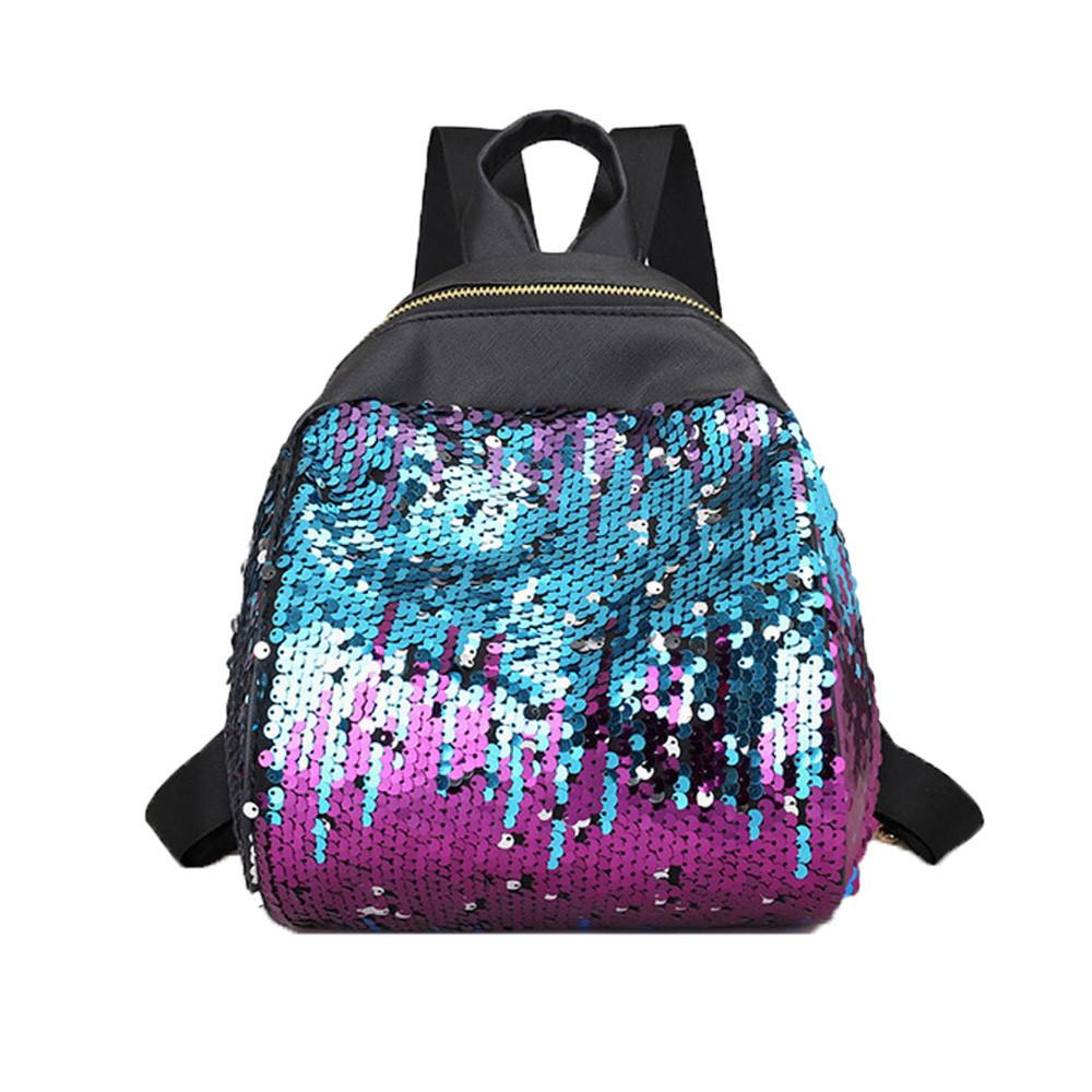 2018 New Fashion Shining Sequins PU Leather Women Backpack Girl Teenage  Small Travel Shoulder Schoolbag Casual Leisure Student School Backpacks  Cool ... c93f840b768a2