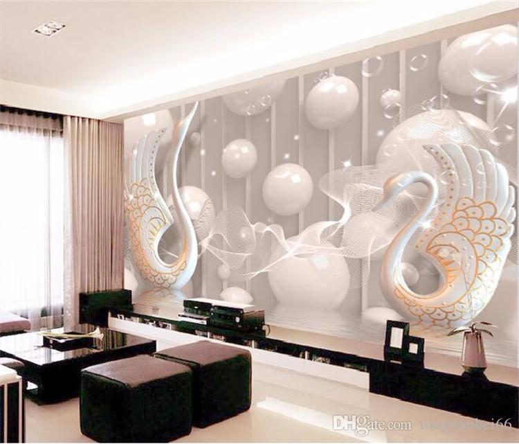 3d wallpaper European White Swan Circle wall painting bedroom living room TV backdrop KTV stripes abstract mural wall paper