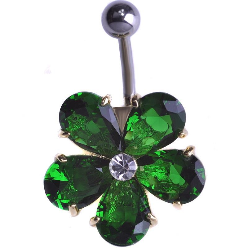 Piercing all'ombelico con fiore in acciaio inossidabile CZ Bling Bling Strass Piercing all'ombelico di lusso con piercing all'ombelico Umbigo Bijoux uk