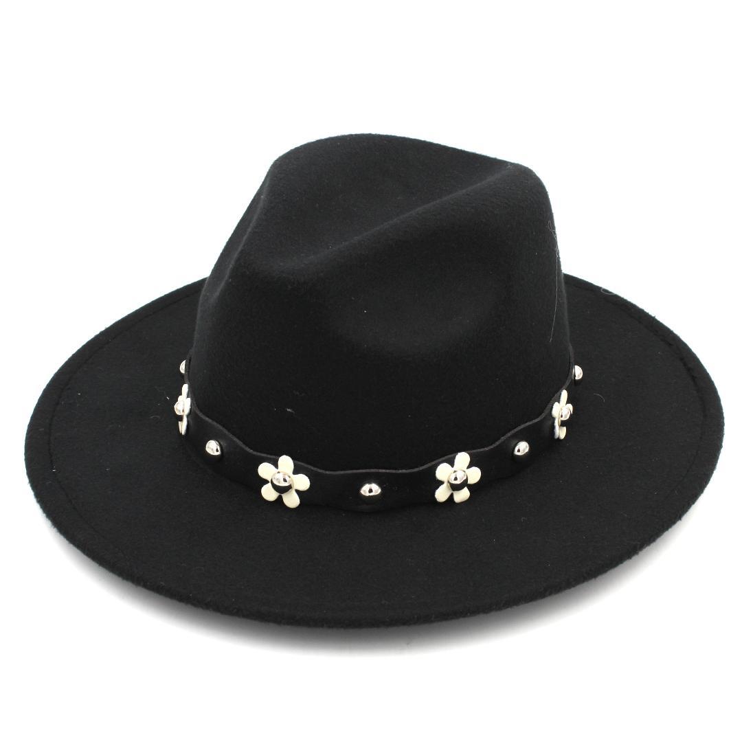 Fashon Unisex Wool Blend Panama Hat Fedora Caps Outdoor Wide Brim Sombrero  Godfather Cap Church Hat Leather Band with Flower Panama Cap Wool Wide Brim  ... a08b5b745ac7