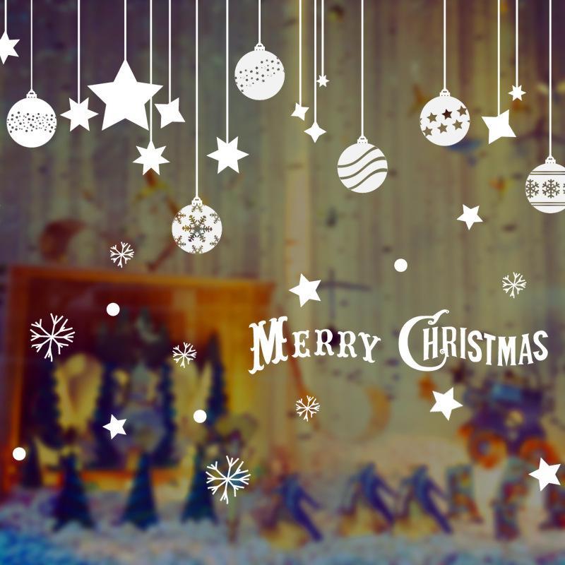 55ce7c82f53 Compre 2019 Año Nuevo Navidad Bola De Navidad Etiqueta De La Ventana De  Cristal Feliz Navidad Decoraciones Para El Hogar Copo De Nieve Se Puede  Quitar ...