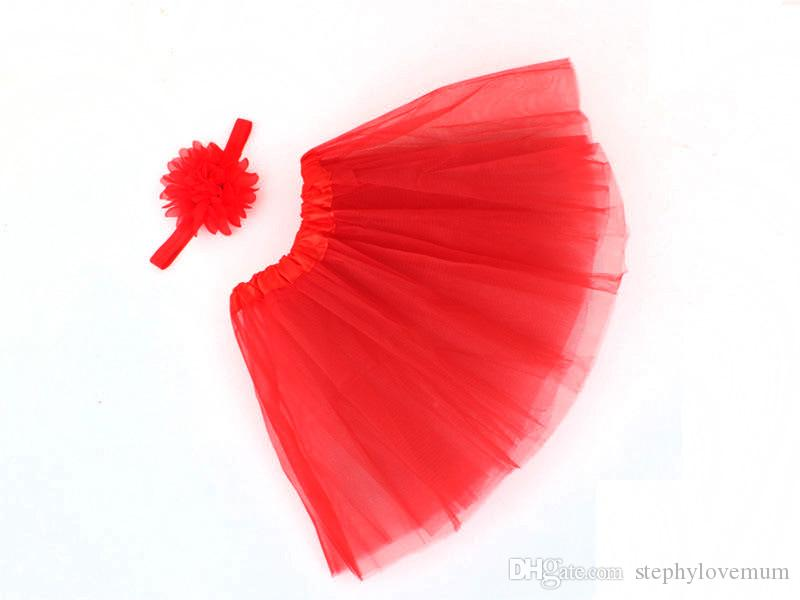 Girls INS TUTU Skirt + Chiffon Flower Headband Hair Accessory Set Lace Bow Flower Decoration Short Skirt Kids Dress 1-6years