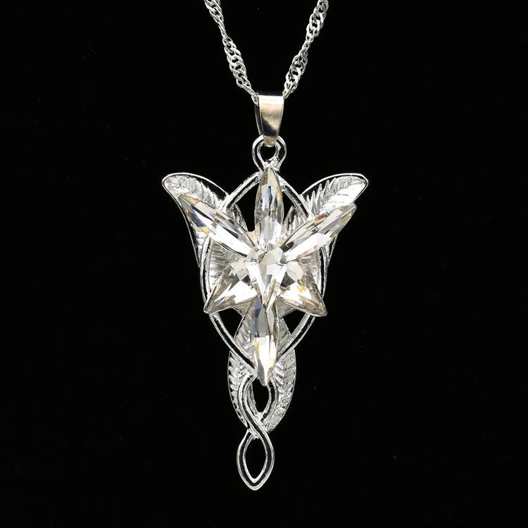 Arwen Evenstar Colar The Elves Princesa Moda Cristal De Prata Cubic Zirconia Pedra Pingente Para As Mulheres Por Atacado
