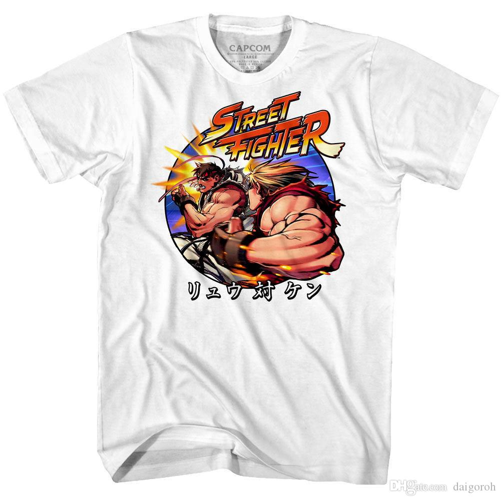 676f43798861 Street Fighter Japanese Hadouken Men S T Shirt Ryu V Ken KO Combat Game  Capcom Funny Slogan T Shirts Cool Shirt Design From Tshirzone