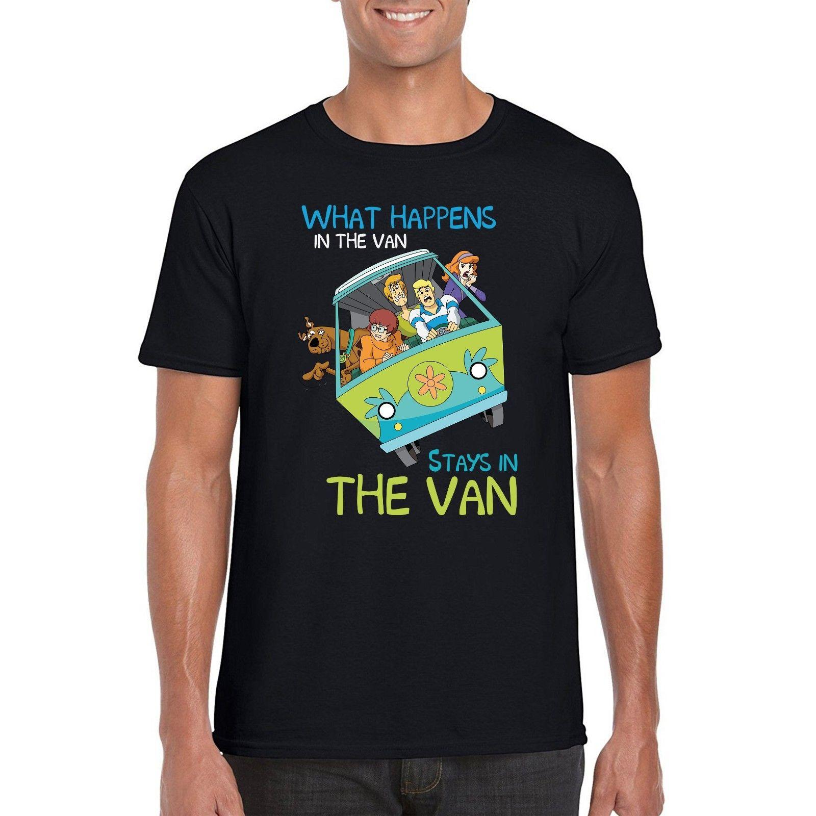 15ed34a7e0 Scooby Mystery Machine T Shirt What Happen In The Van Stay In Van Parody Tee  Top Funny Unisex Casual Tee Gift The Coolest T Shirts T Shirt Shirt Designs  ...