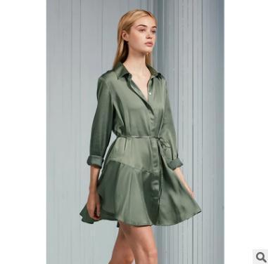 9648538245e Spring Summer Women Dress Silky Textured Long Sleeved Tie Shirt ...