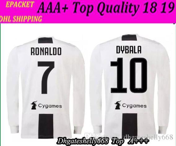2649df62b 2019 Long Sleeve 18 19 RONALDO DYBALA HIGUAIN POGBA Soccer Jersey 2018 2019  Italy JuVE MARCHISIO MANDZUKIC BUFFON Home Away 3rd Shirt From Shellyzhs