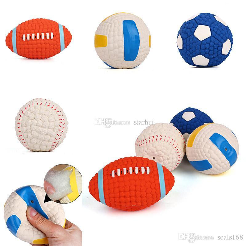 New Dog Chew Toys Ball Latex Football Volleyball Tennis Ball Dog Squeaky Toy Pet Puppy Sound Squeaky Vocal Training Ball Supplies WX9-197