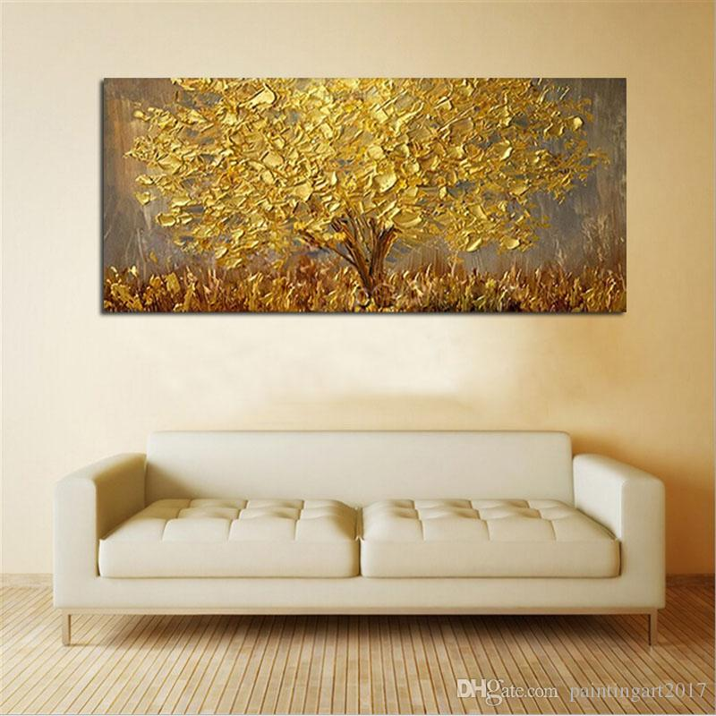 Büyük El-boyalı Bıçak Ağaçları Yağlıboya Tuval Üzerine Palet Altın Sarı Resim Sergisi Modern Soyut Duvar Sanatı Resimleri Ev Dekorasyonu Hediyeler