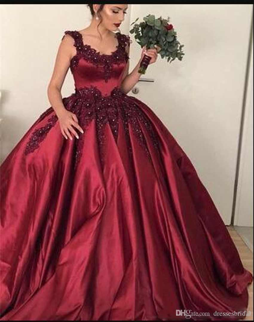 460eea2dae Burgundy Scoop Neck Prom Dresses Lace Appliques Beaded Sweet 16 Formal Ball  Gowns Evening Party Gowns Quinceanera Gowns Custom Made Prom Dress Under  200 ...