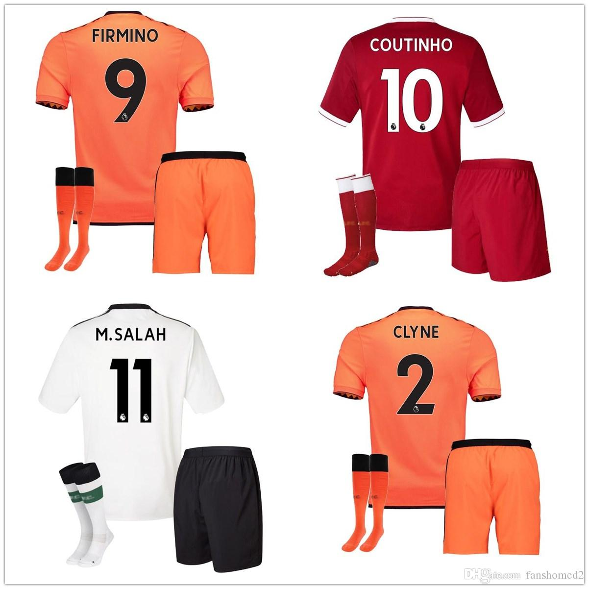 df3cc94c64 Compre 2017 2018 Third Lvp Full Sets Visitante Home Salah Soccer Sets  Hombre Firmino Milner Chamberlain Mane Lallana Virgil Sturridge Uniforme De  Fútbol Set ...