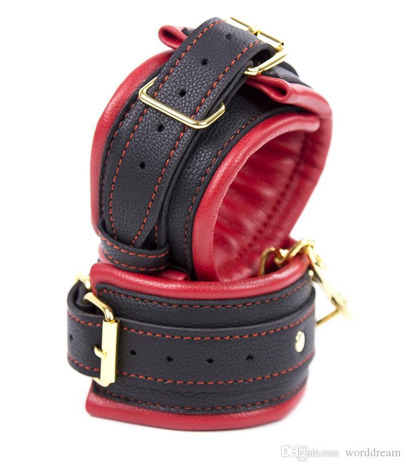 Bondage Restraints Belt Leather Sponge Dog Collar Slave Wrist Ankle Cuffs , Fun Fetish Erotic Sex Products Flirting Toys For Women