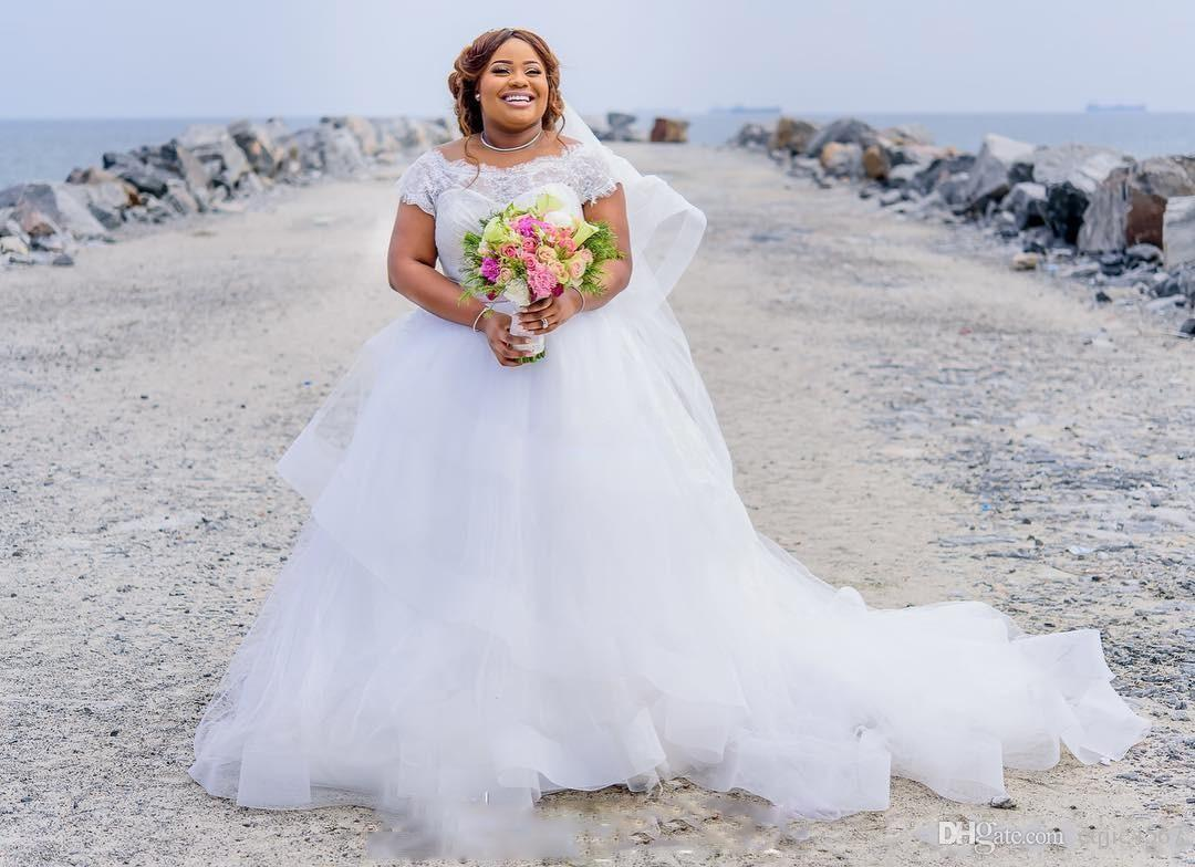 2018 Summer Lace Cap Sleeves A Line Beach Bridal Gowns With Pink Ribbon Sash Tulle Puffy Wedding Dresses Gorgeous Plus Size Wedding Dresses