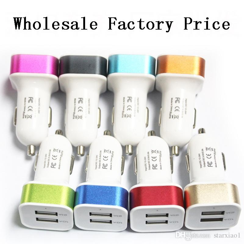 Caricabatteria da auto Dual USB prezzo di fabbrica Iphone X 7 Plus. Adattatore USB universale telefono cellulare Samsung S6 S5 Sigaretta USB