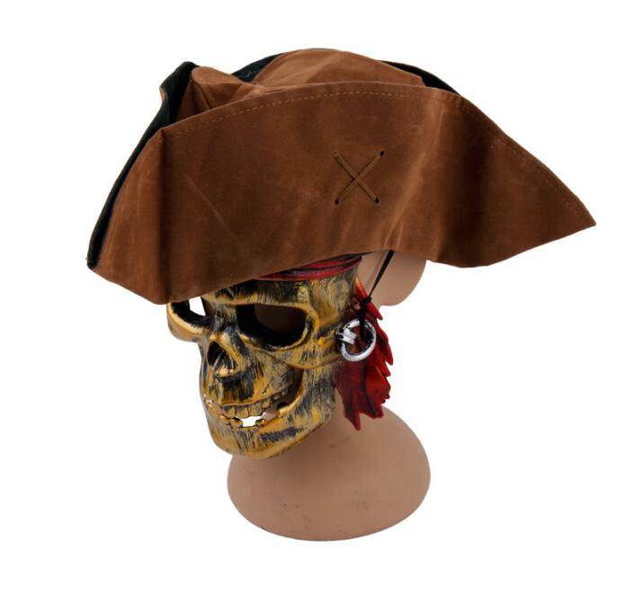 8b9a1d19256cc Brown Caribbean Pirate Captain Jack Sparrow Tricorn Hat Adult Unisex ...