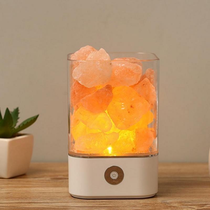 USB Netzteil Natürliche Himalaya Salz Lampe Einzigartige Kristallsalze  Nachtlicht Home Schlafzimmer Beleuchtung Dekor Handwerk 7 Farblichter