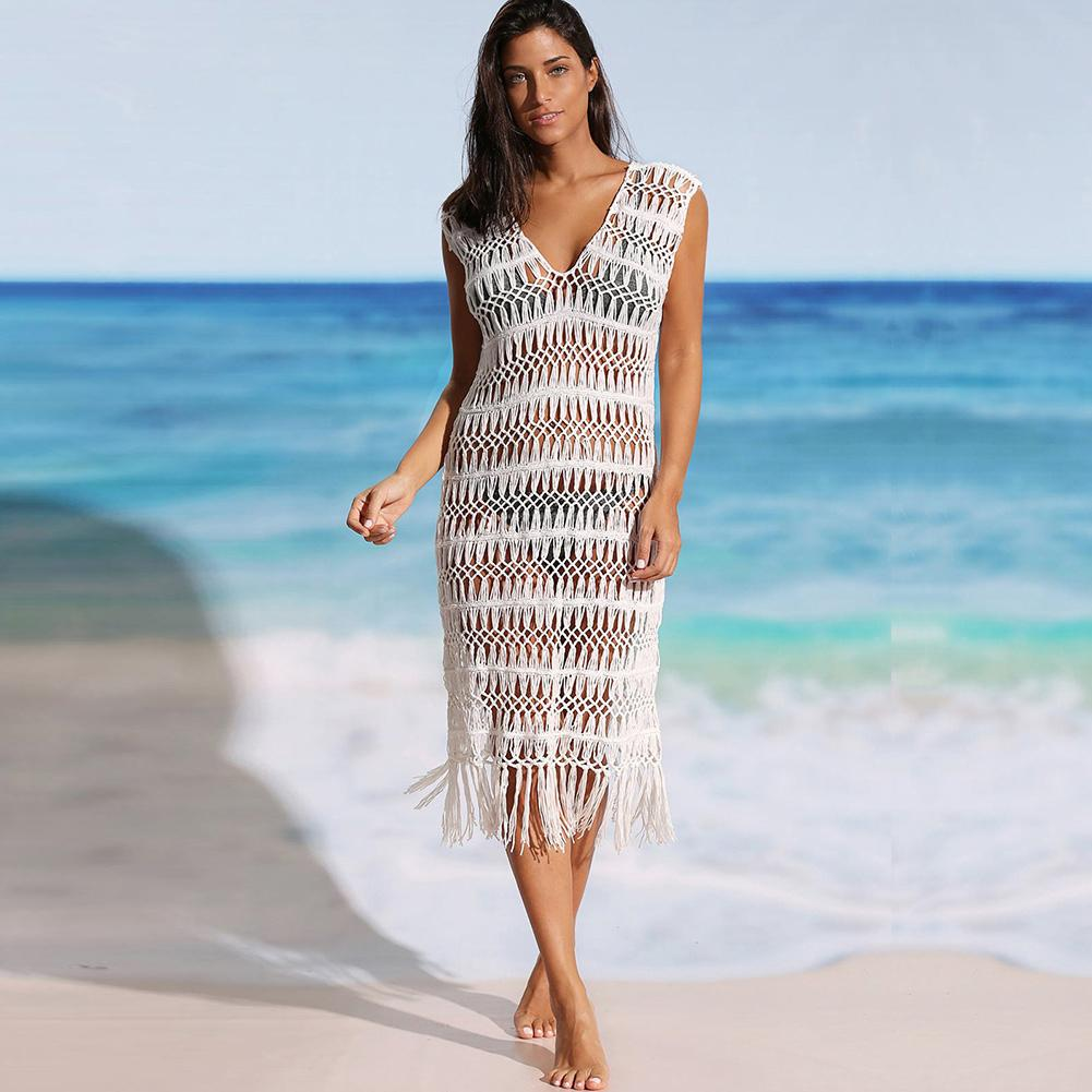 620ade7354af 2019 New Sexy Pareo Women Hollow Swimsuit Cover Dress Crochet Fringes  Tassels Sleeveless Bathing Suit Robe Hollow Out Beachwear Ladies Nice  Dresses Green ...