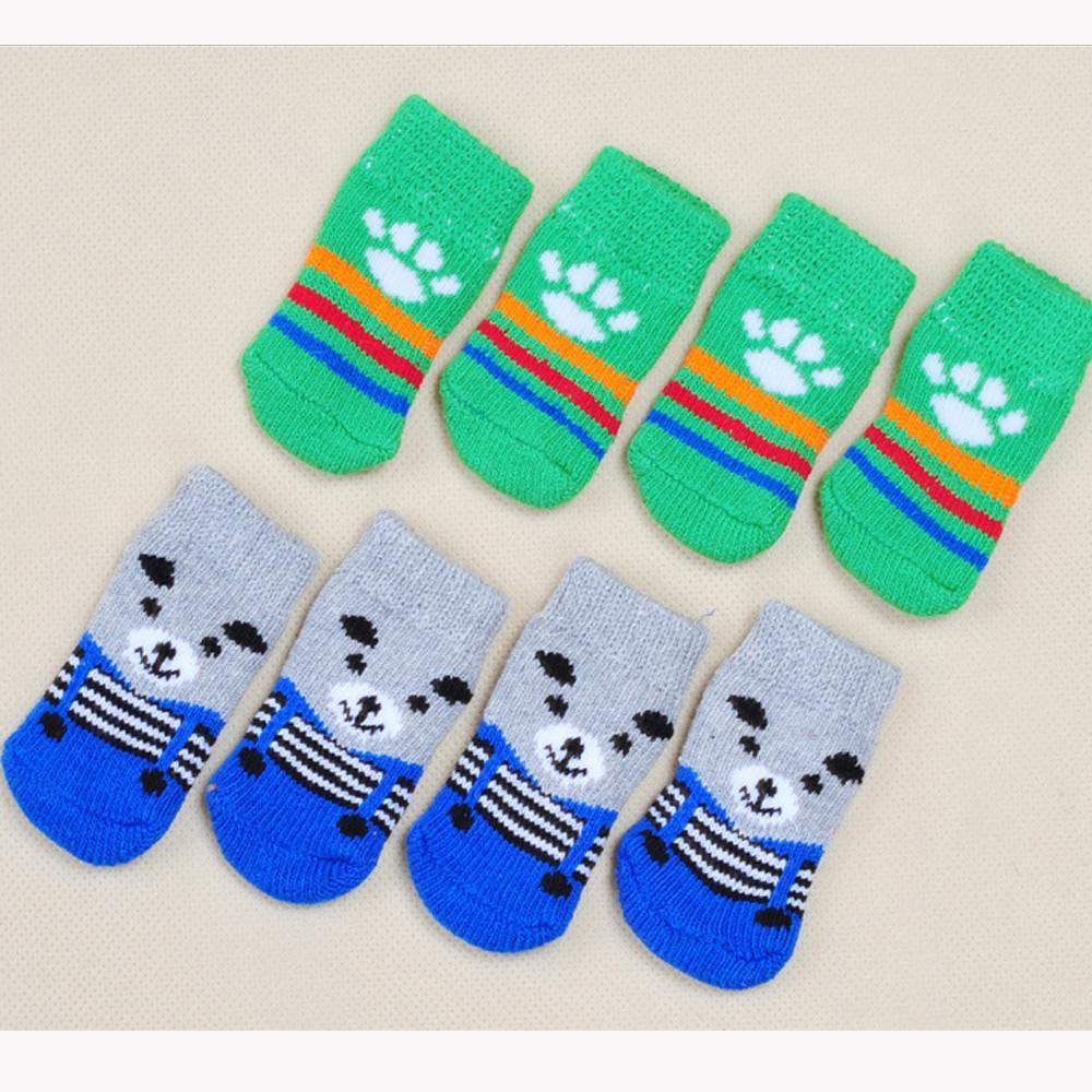 Dog Sock Warm Latex Skid-Proof Socks For Dogs Clothing Shoes Anti Slip Pets Socks Dog Print Socks Dog Leg Warmers S-XL