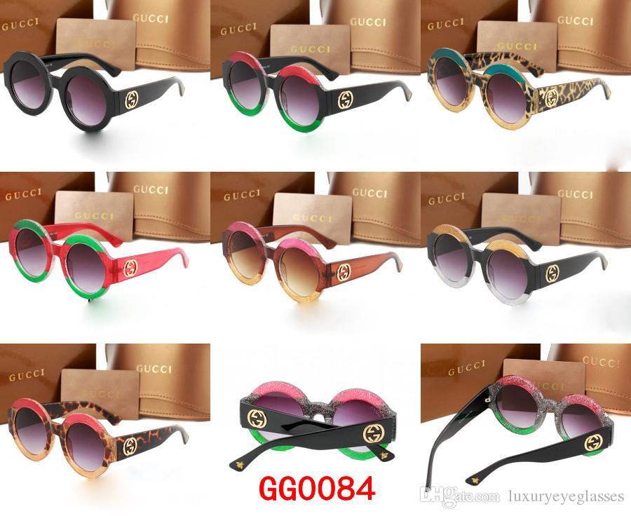 9b65759ec8 Fashion Coating Sunglasses Brand Designer Men Women Round Frame Eyewear  2018 Summer Driving Glasses Luxury Eyeglasses G0084S Online Eyeglasses  Discount ...