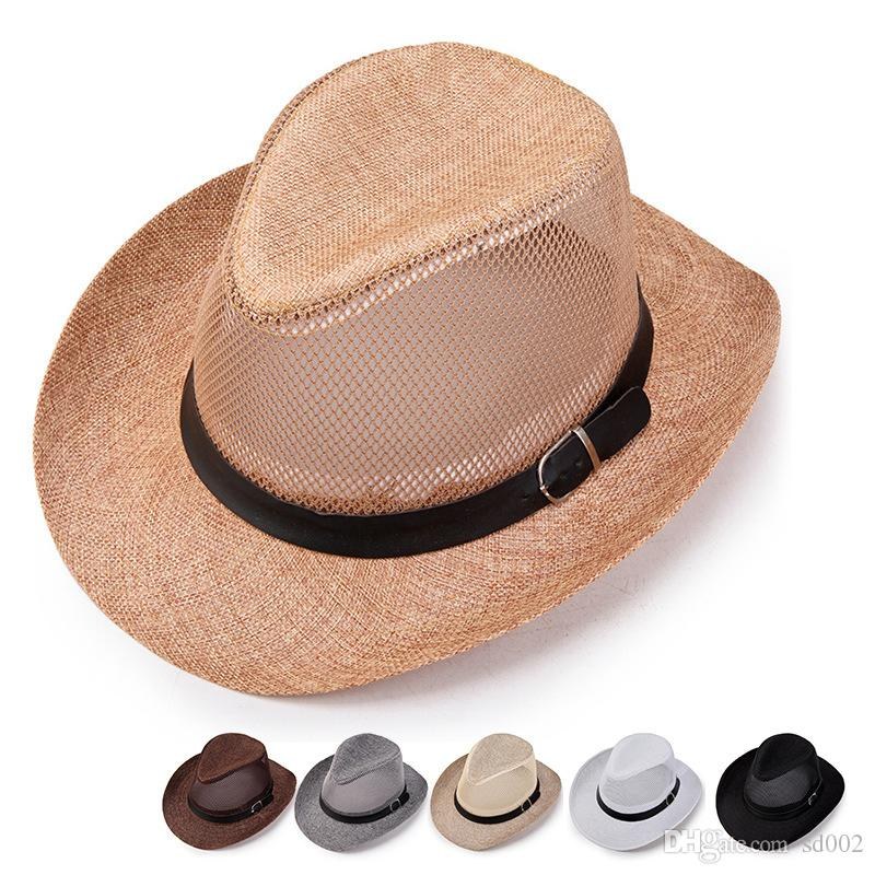 66df2bc155ab Network Headwear Cap Splicing Outdoors Creative Cowboy Straw Hats  Ventilation Cool Sun Shading Sunscreen Casquette Mens Designer 6yg Jj Funny  Party Hat ...