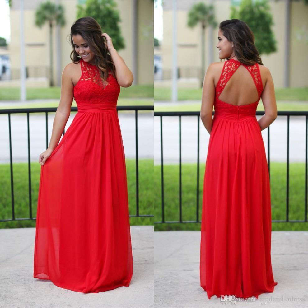 c8d2cf76a0 2018 Sexy Long Chiffon Country Bridesmaid Dresses Red Lace Bridesmaids  Gowns Cheap Beach Backless Maxi Dress Prom Gown Print Bridesmaid Dresses  Romantic ...