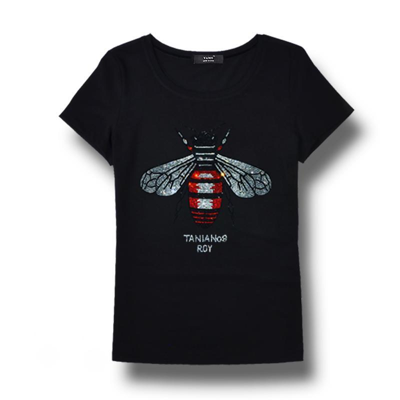 74ae049c49e99 Brand Designer 2018 High Quality Brand Women Rhinestone T Shirt Bee  Blingbling Crystal Women Top Tees Plus Size Short Sleeve Tops For Summer  Funny T Shirts ...