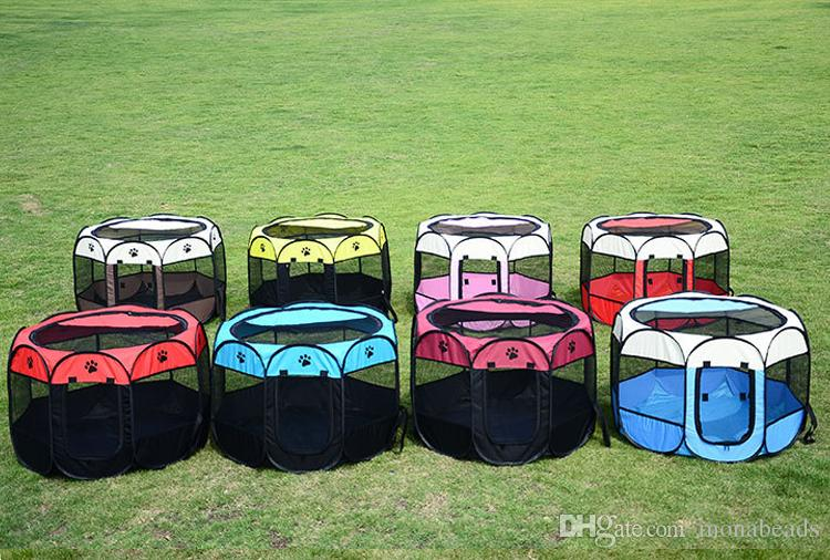 Dog House Portable Folding Pet Tent Cage Dog Kennel Puppy Playpen Outdoor Breathable Pet supplies Octagonal Fence