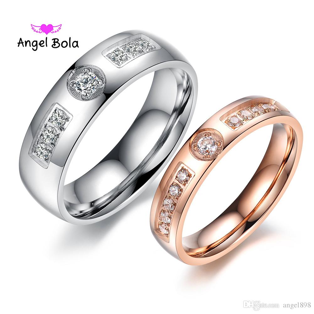 7bfb55e0a6 2019 Romantic Lovers Wedding Rings 316L Stainless Steel Lover Couple Ring  For Women Men Rose Gold Color Inlaid CZ Zirconia Never Fade From Angel898,  ...
