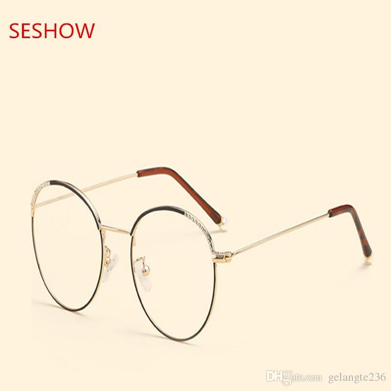 Pearl Diamond Frame Female Korean Version Of Round Glasses Frames ...