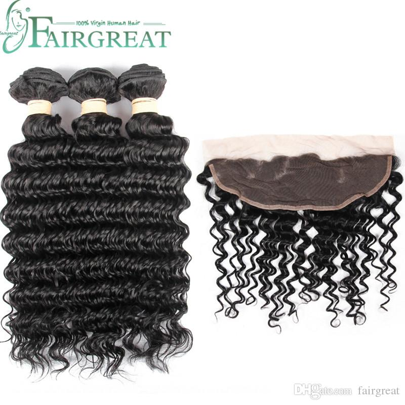 Fairgreat Virgin capelli umani 3 pacchi con 13 x 4 pizzo trama profonda onda frontale 100% estensioni dei capelli umani colore naturale prezzo all'ingrosso