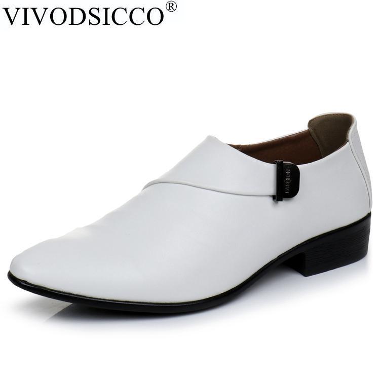12b347d7dd Compre VIVODSICCO Novos Homens De Negócios Branco Sapatos Estilo De Moda  Sapatos De Couro Homem Sapato Macho Sapatos Oxfords Sapatos De Casamento  Masculinos ...