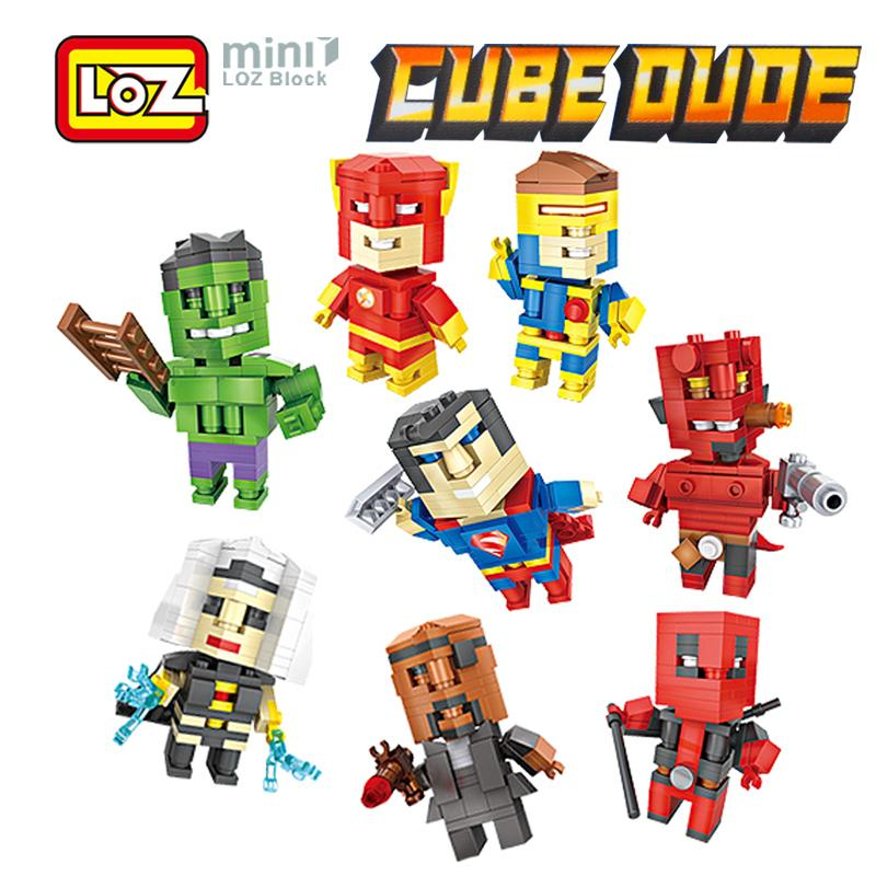 2019 Loz Deadpool Superman Hellboy Flash Cyclops Nick Mini Figure